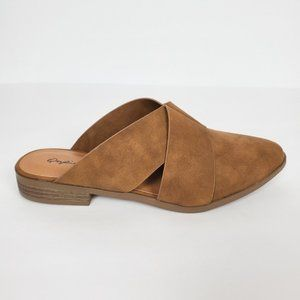 Women's Slip On Pointy Toe  Mules  Color Brown